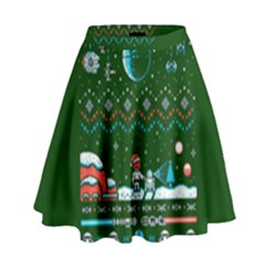 That Snow Moon Star Wars  Ugly Holiday Christmas Green Background High Waist Skirt by Onesevenart