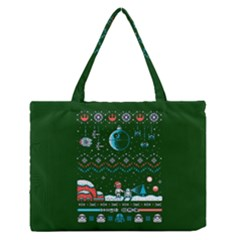 That Snow Moon Star Wars  Ugly Holiday Christmas Green Background Medium Zipper Tote Bag by Onesevenart