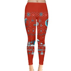 That Snow Moon Star Wars  Ugly Holiday Christmas Red Background Leggings  by Onesevenart