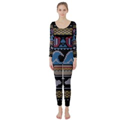 Ugly Summer Ugly Holiday Christmas Black Background Long Sleeve Catsuit by Onesevenart