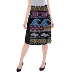 Ugly Summer Ugly Holiday Christmas Black Background Midi Beach Skirt by Onesevenart