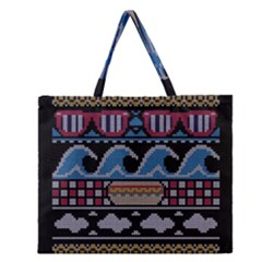Ugly Summer Ugly Holiday Christmas Black Background Zipper Large Tote Bag by Onesevenart