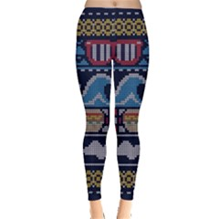 Ugly Summer Ugly Holiday Christmas Blue Background Leggings  by Onesevenart