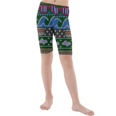 Ugly Summer Ugly Holiday Christmas Green Background Kids  Mid Length Swim Shorts by Onesevenart