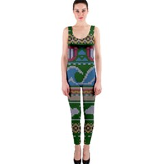 Ugly Summer Ugly Holiday Christmas Green Background Onepiece Catsuit by Onesevenart