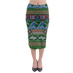 Ugly Summer Ugly Holiday Christmas Green Background Midi Pencil Skirt by Onesevenart