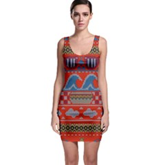 Ugly Summer Ugly Holiday Christmas Red Background Sleeveless Bodycon Dress by Onesevenart