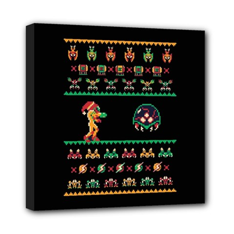 We Wish You A Metroid Christmas Ugly Holiday Christmas Black Background Mini Canvas 8  X 8  by Onesevenart