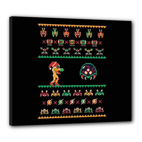 We Wish You A Metroid Christmas Ugly Holiday Christmas Black Background Canvas 24  X 20  by Onesevenart