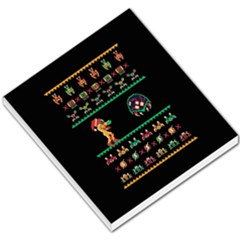 We Wish You A Metroid Christmas Ugly Holiday Christmas Black Background Small Memo Pads by Onesevenart