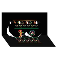 We Wish You A Metroid Christmas Ugly Holiday Christmas Black Background Twin Hearts 3d Greeting Card (8x4) by Onesevenart