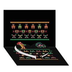 We Wish You A Metroid Christmas Ugly Holiday Christmas Black Background Heart Bottom 3d Greeting Card (7x5) by Onesevenart