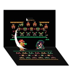We Wish You A Metroid Christmas Ugly Holiday Christmas Black Background Circle 3d Greeting Card (7x5) by Onesevenart