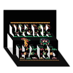 We Wish You A Metroid Christmas Ugly Holiday Christmas Black Background Work Hard 3d Greeting Card (7x5) by Onesevenart