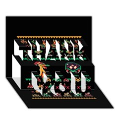 We Wish You A Metroid Christmas Ugly Holiday Christmas Black Background Thank You 3d Greeting Card (7x5) by Onesevenart