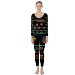 We Wish You A Metroid Christmas Ugly Holiday Christmas Black Background Long Sleeve Catsuit by Onesevenart