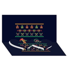 We Wish You A Metroid Christmas Ugly Holiday Christmas Blue Background Twin Heart Bottom 3d Greeting Card (8x4) by Onesevenart