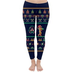 We Wish You A Metroid Christmas Ugly Holiday Christmas Blue Background Classic Winter Leggings by Onesevenart