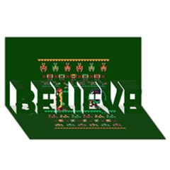We Wish You A Metroid Christmas Ugly Holiday Christmas Green Background Believe 3d Greeting Card (8x4) by Onesevenart