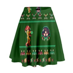 We Wish You A Metroid Christmas Ugly Holiday Christmas Green Background High Waist Skirt by Onesevenart