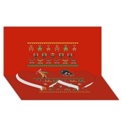 We Wish You A Metroid Christmas Ugly Holiday Christmas Red Background Twin Heart Bottom 3d Greeting Card (8x4) by Onesevenart