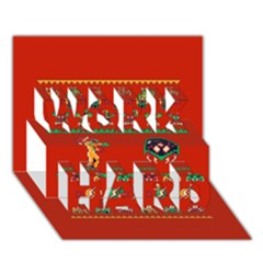 We Wish You A Metroid Christmas Ugly Holiday Christmas Red Background Work Hard 3d Greeting Card (7x5) by Onesevenart