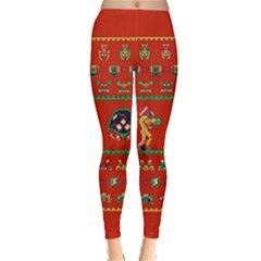 We Wish You A Metroid Christmas Ugly Holiday Christmas Red Background Leggings  by Onesevenart