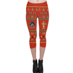 We Wish You A Metroid Christmas Ugly Holiday Christmas Red Background Capri Leggings  by Onesevenart