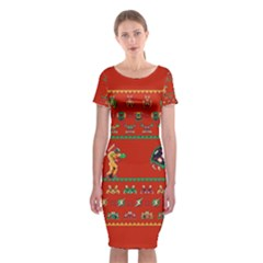 We Wish You A Metroid Christmas Ugly Holiday Christmas Red Background Classic Short Sleeve Midi Dress by Onesevenart