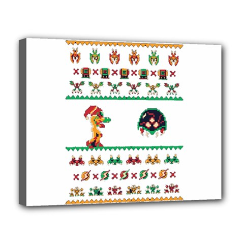 We Wish You A Metroid Christmas Ugly Holiday Christmas Canvas 14  X 11  by Onesevenart