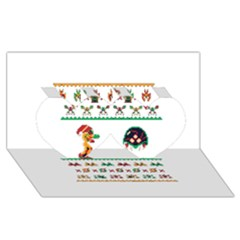 We Wish You A Metroid Christmas Ugly Holiday Christmas Twin Hearts 3d Greeting Card (8x4) by Onesevenart