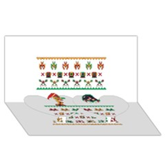We Wish You A Metroid Christmas Ugly Holiday Christmas Twin Heart Bottom 3d Greeting Card (8x4) by Onesevenart