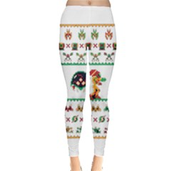 We Wish You A Metroid Christmas Ugly Holiday Christmas Leggings  by Onesevenart
