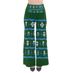 Who Is Outside Ugly Holiday Christmas Green Background Pants by Onesevenart