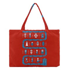 Who Is Outside Ugly Holiday Christmas Red Background Medium Tote Bag by Onesevenart