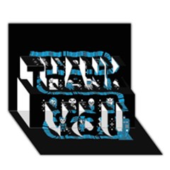 Who Is Outside Ugly Holiday Christmas Black Background Thank You 3d Greeting Card (7x5) by Onesevenart