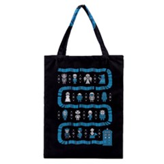 Who Is Outside Ugly Holiday Christmas Black Background Classic Tote Bag by Onesevenart