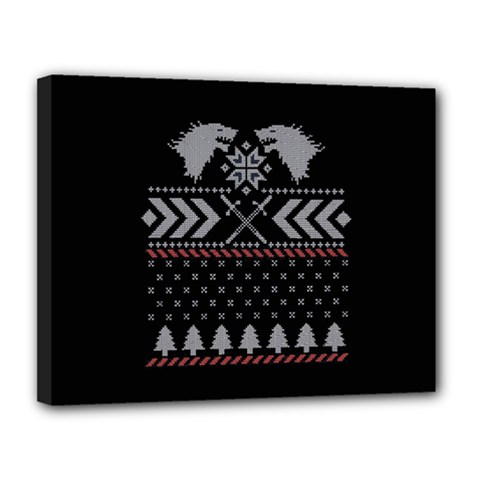 Winter Is Coming Game Of Thrones Ugly Christmas Black Background Canvas 14  X 11  by Onesevenart