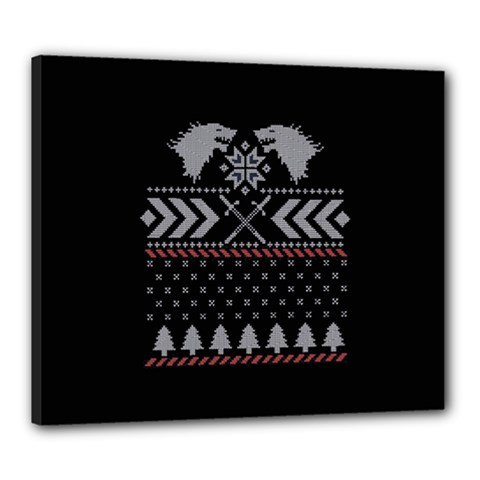 Winter Is Coming Game Of Thrones Ugly Christmas Black Background Canvas 24  X 20  by Onesevenart