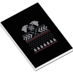 Winter Is Coming Game Of Thrones Ugly Christmas Black Background Large Memo Pads by Onesevenart
