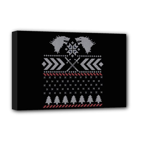 Winter Is Coming Game Of Thrones Ugly Christmas Black Background Deluxe Canvas 18  X 12   by Onesevenart