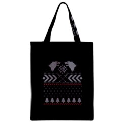 Winter Is Coming Game Of Thrones Ugly Christmas Black Background Zipper Classic Tote Bag by Onesevenart