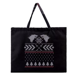 Winter Is Coming Game Of Thrones Ugly Christmas Black Background Zipper Large Tote Bag by Onesevenart