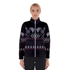 Winter Is Coming Game Of Thrones Ugly Christmas Black Background Winterwear by Onesevenart