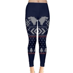 Winter Is Coming Game Of Thrones Ugly Christmas Blue Background Leggings  by Onesevenart
