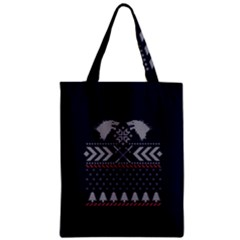 Winter Is Coming Game Of Thrones Ugly Christmas Blue Background Zipper Classic Tote Bag by Onesevenart