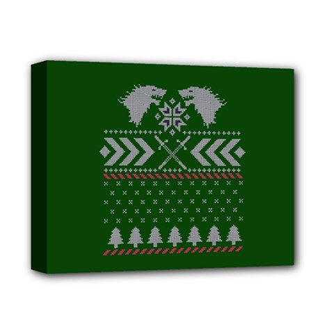 Winter Is Coming Game Of Thrones Ugly Christmas Green Background Deluxe Canvas 14  X 11  by Onesevenart