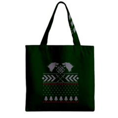 Winter Is Coming Game Of Thrones Ugly Christmas Green Background Zipper Grocery Tote Bag by Onesevenart