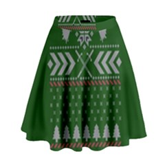 Winter Is Coming Game Of Thrones Ugly Christmas Green Background High Waist Skirt by Onesevenart