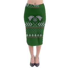 Winter Is Coming Game Of Thrones Ugly Christmas Green Background Midi Pencil Skirt by Onesevenart